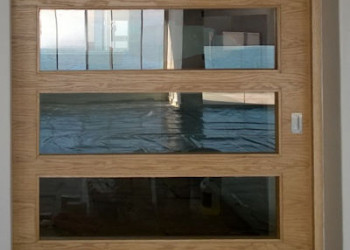 oak and glass sliding door