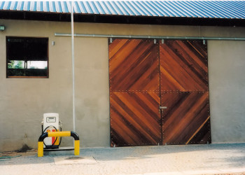 Sliding wooden warehouse doors in jarra