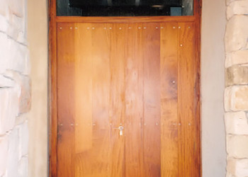wooden wine cellar entrance doors