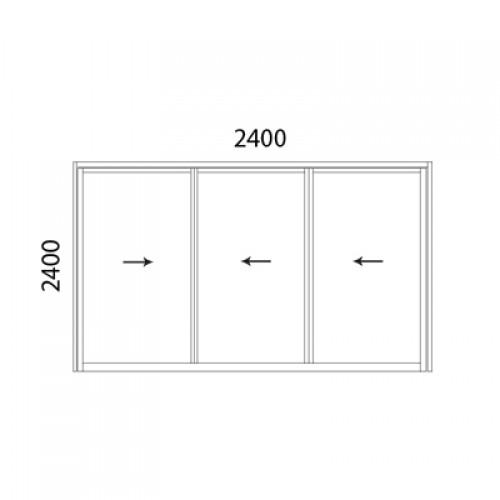 Aluminium multiple sliding door 3 panel 2424xxxmsd size for Multi panel sliding glass doors