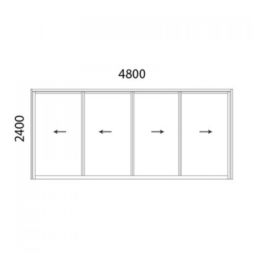 Aluminium Multiple Sliding Door 4 Panel 4824xxxxmsd Size