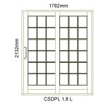 CSDPL1.8L - Small Pane Sliding Door 1.8L -1782x2140mm