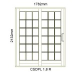 CSDPL1.8R - Small Pane Sliding Door 1.8R -1782x2140mm