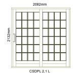 CSDPL2.1L - Small Pane Sliding Door 2.1L -2082x2140mm