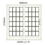 CSDPL2.1R - Small Pane Sliding Door 2.1R -2082x2140mm