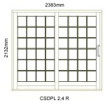 CSDPL2.4R - Small Pane Sliding Door 2.4R -2382x2140mm