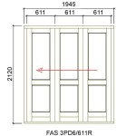 FAS3PD6/611L - Fold-A-Side Unit Left 1955x2120mm