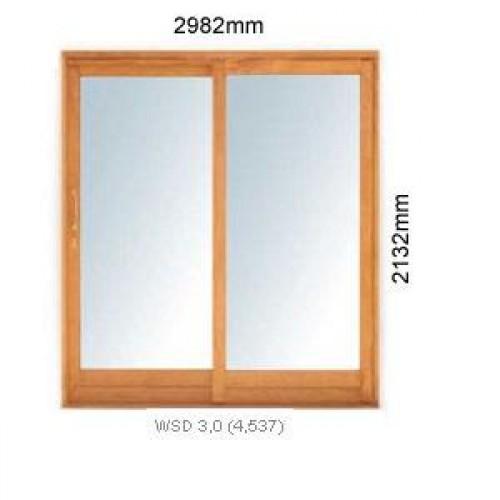 Wooden wsd3 0l winsters single sliding door 3 0l 2982x2125mm for Single sliding exterior door