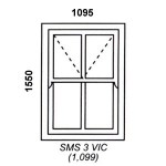 SMS3VIC - Box Mock Sash Window Victorian  1095x1550mm