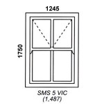 SMS5VIC - Box Mock Sash Window Victorian  1245x1750mm