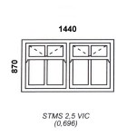 STMS2.5VIC - Victorian Cape Mock Sash Window 1440x870mm