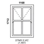 STMS5VIC - Victorian Cape Mock Sash Window 1168x1712mm
