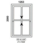 SS6VIC - Victorian Sliding Sash Window 1252x2000mm