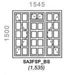 SA3FSP/BS - Small Pane Window B/Bar 1544x1500mm
