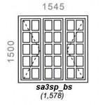SA3SP/BS - Small Pane Window B/Bar 1544x1500mm