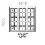SA3SP - Small Pane Window 1544x1500mm