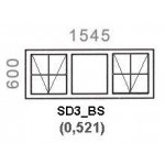 SD3/BS - Top Hung Window B/Bar 1544x600mm