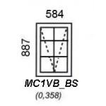 MC1VB/BS - Top Hung Window B/Bar 584x887mm