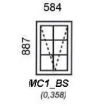 MC1/BS - Top Hung Window B/Bar 584x887mm