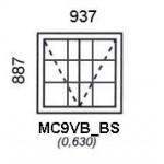 MC9VB/BS - Top Hung Window B/Bar 937x887mm