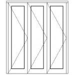 OA3SFD1821 - 3 Panel Sliding Folding Door 1800x2100mm