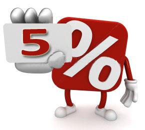 5 percent off